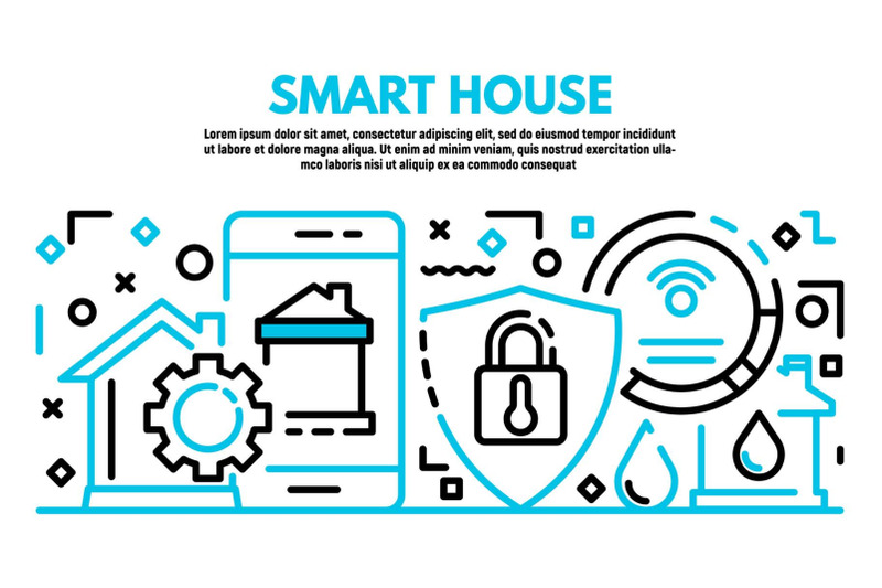 smart-house-banner-outline-style
