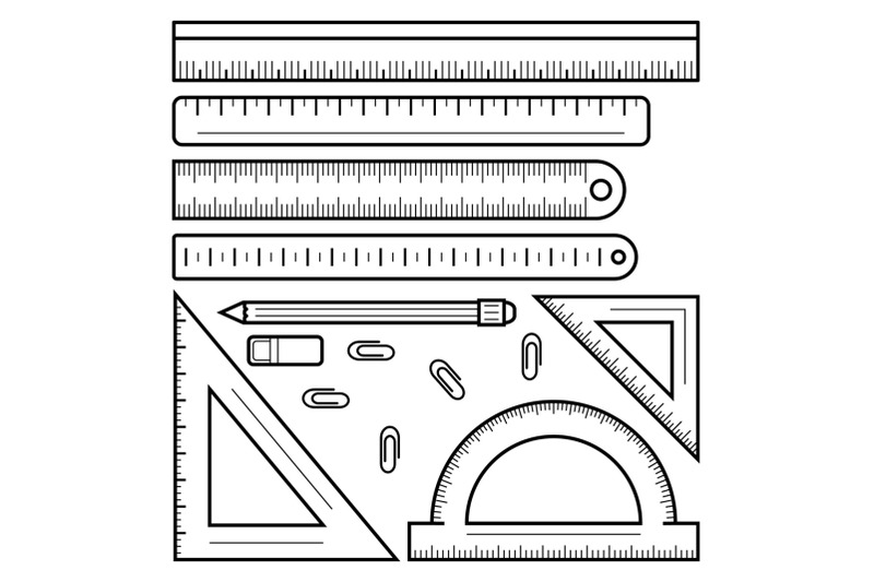 ruler-tape-icon-set-outline-style