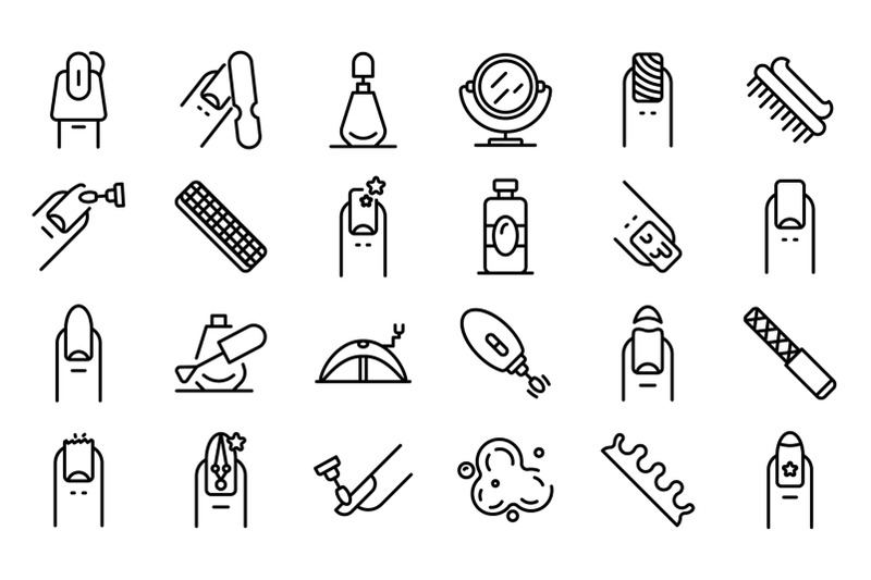 nail-icons-set-outline-style