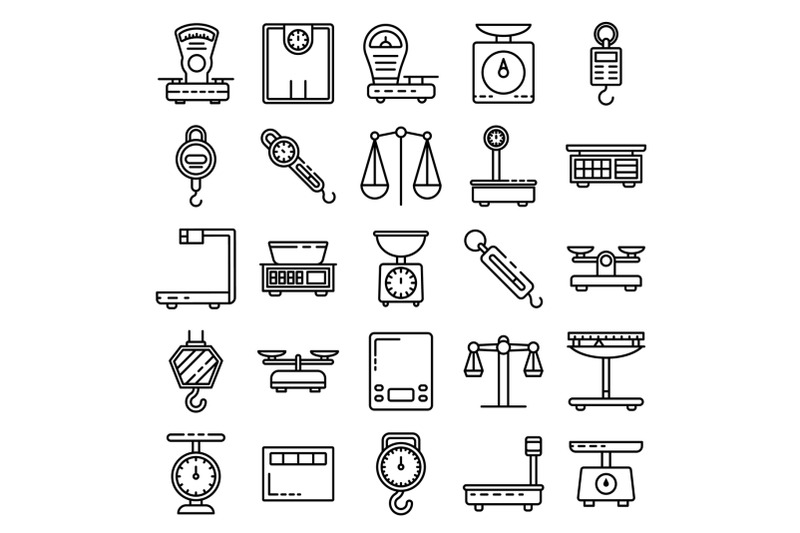 weigh-scales-icons-set-outline-style