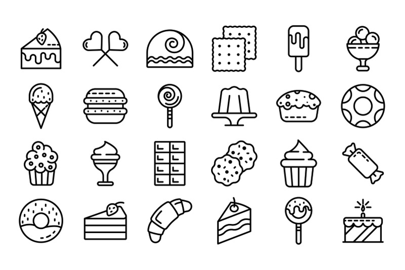 confectionery-icons-set-outline-style