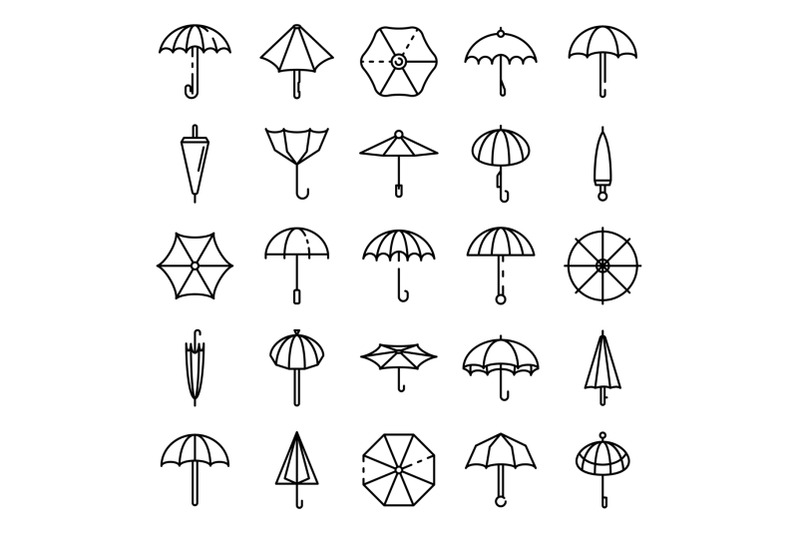umbrella-icons-set-outline-style