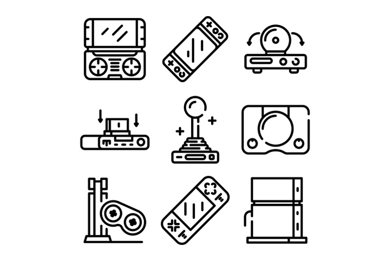console-icons-set-outline-style