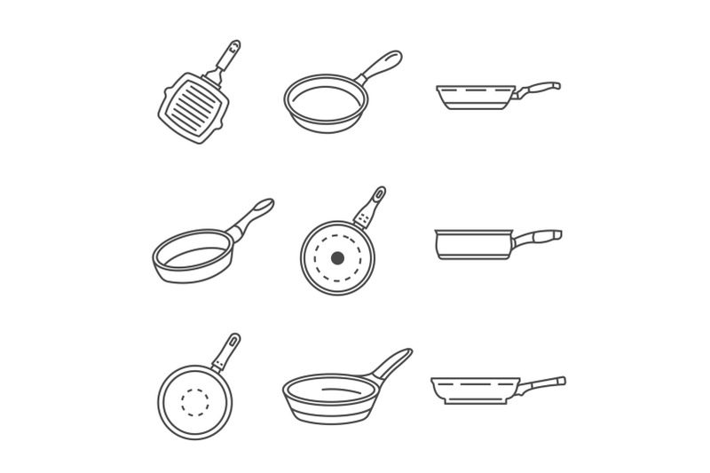 griddle-pan-icon-set-outline-style