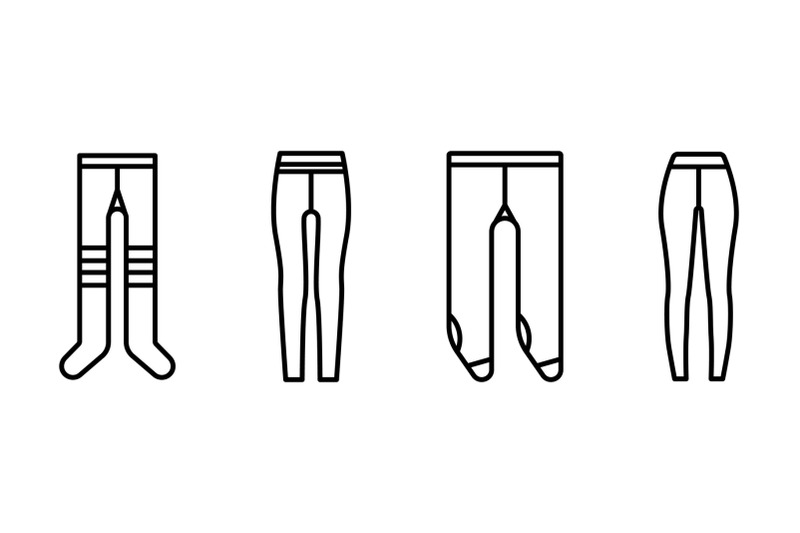 tights-icons-set-outline-style