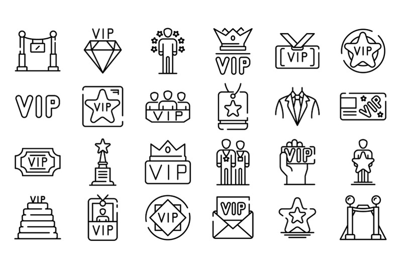 vip-icons-set-outline-style