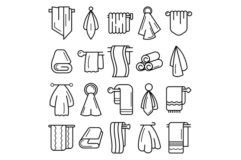 towel-icon-set-outline-style