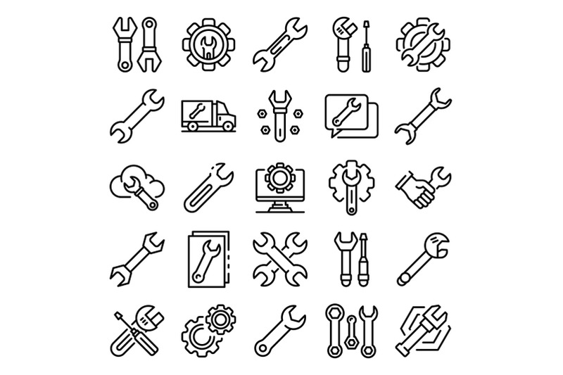 wrench-icons-set-outline-style