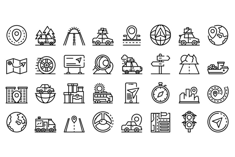 car-trip-icons-set-outline-style