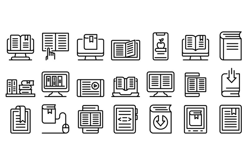 ebook-icons-set-outline-style