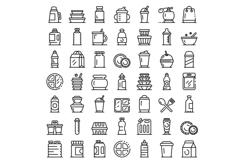 plastic-tableware-icons-set-outline-style