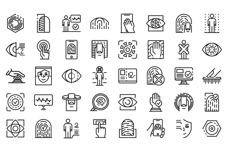 biometric-authentication-icons-set-outline-style