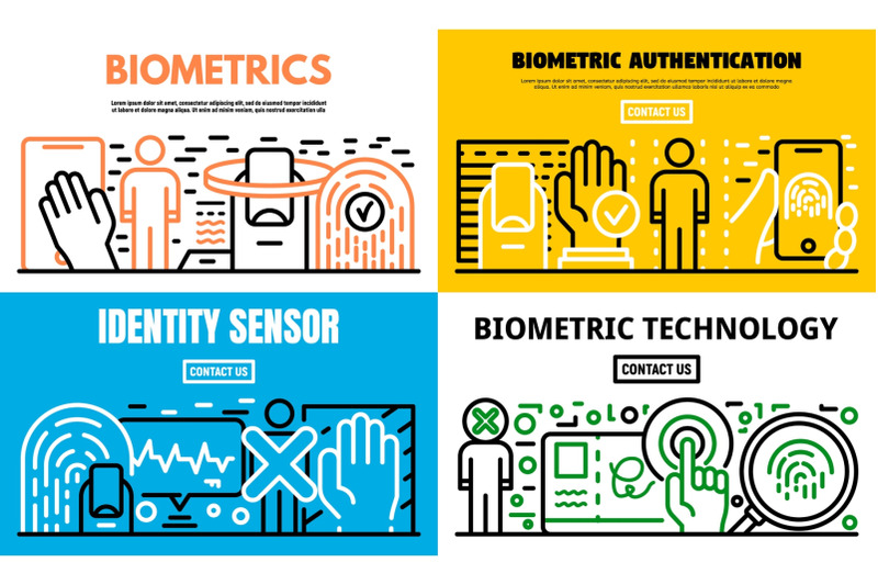 biometric-recognition-banner-set-outline-style