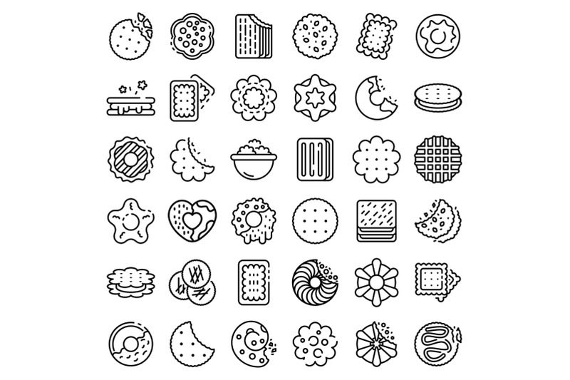 cookie-icons-set-outline-style