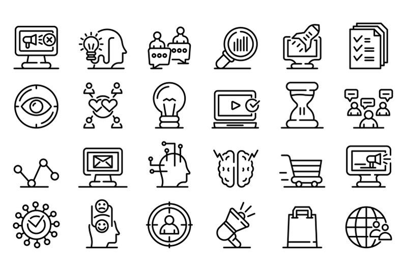 neuromarketing-icons-set-outline-style