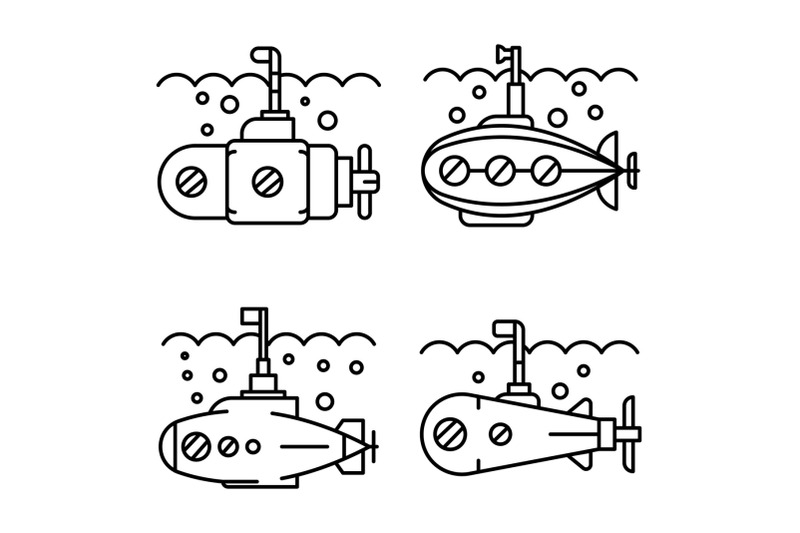 periscope-icon-set-outline-style