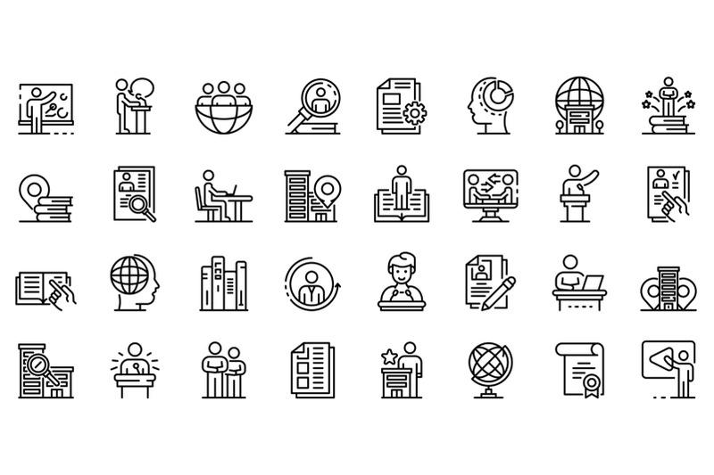 internship-icons-set-outline-style
