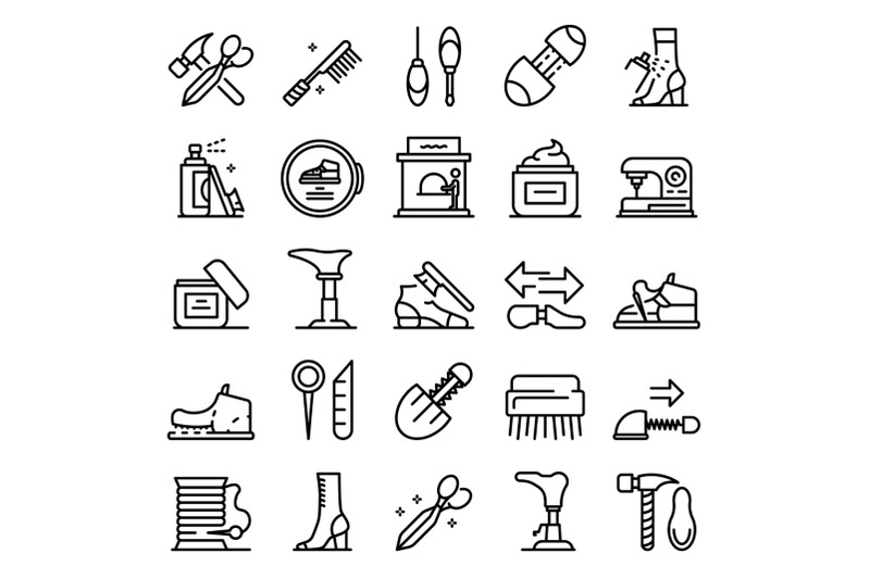 shoe-repair-icons-set-outline-style