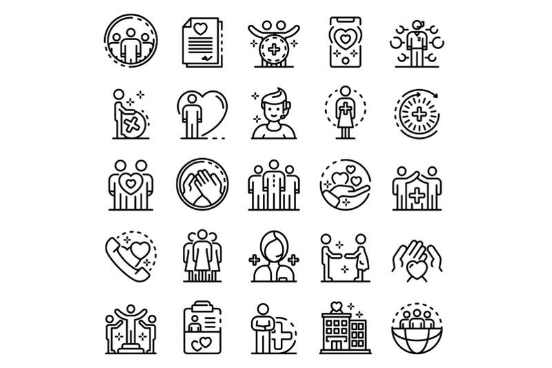 social-service-icons-set-outline-style