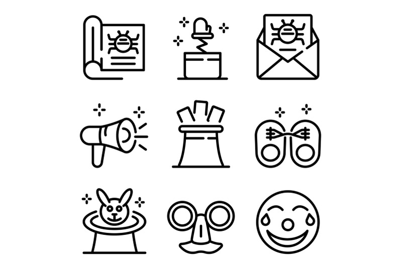 hoax-icons-set-outline-style