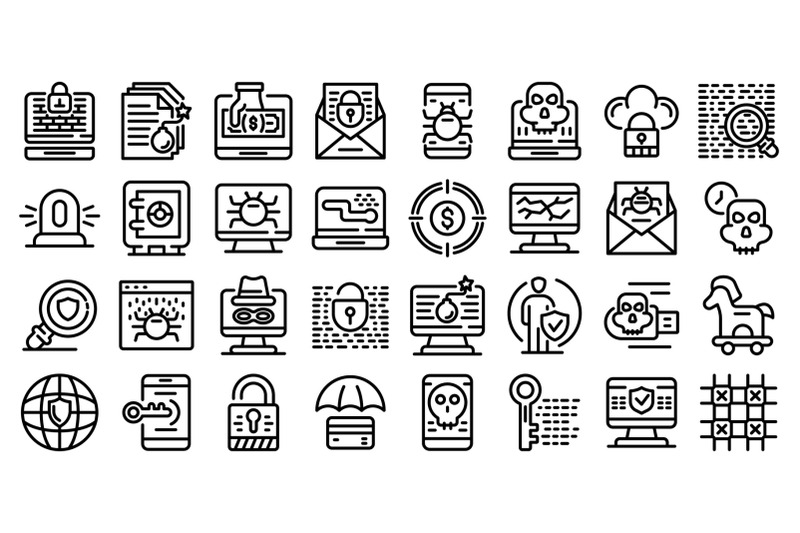 fraud-icons-set-outline-style