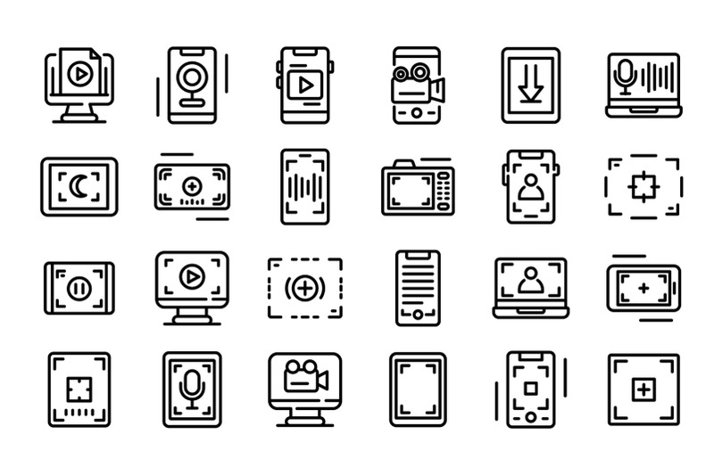 screen-recording-icons-set-outline-style