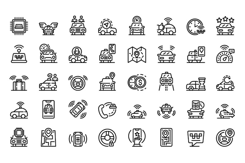 unmanned-taxi-icons-set-outline-style