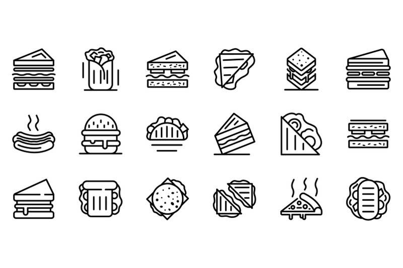 sandwich-bar-icons-set-outline-style
