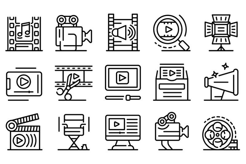 clip-maker-icons-set-outline-style