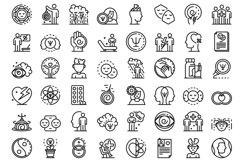 psychologist-icons-set-outline-style