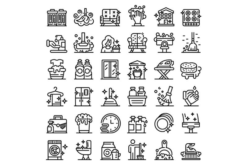 cleaning-services-icons-set-outline-style