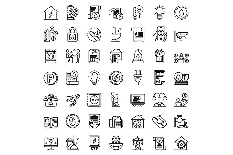 utilities-icons-set-outline-style
