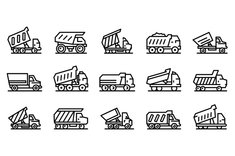 tipper-icons-set-outline-style