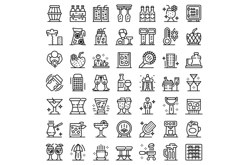 bartender-icons-set-outline-style