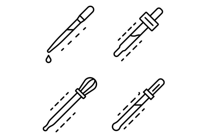 pipette-icon-set-outline-style