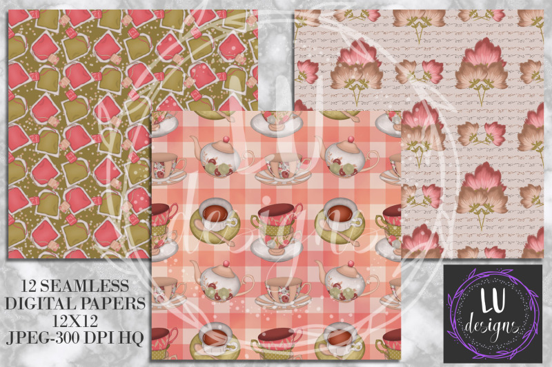 tea-time-digital-papers-tea-backgrounds-strawberry-patterns