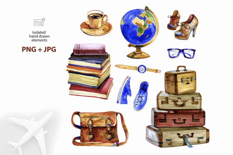 time-to-travel-watercolor-cliparts