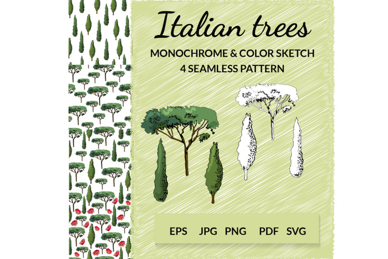 hand-drawn-italian-trees-in-sketch-style-vector-clipart