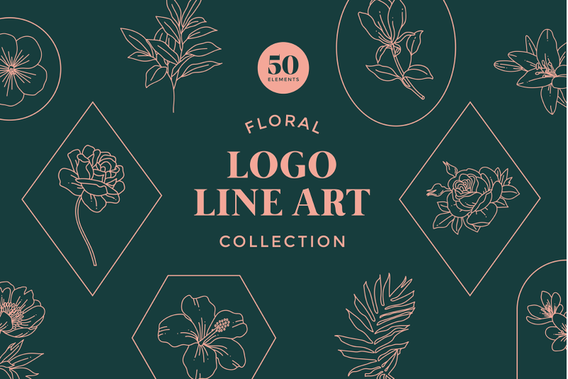 floral-logo-line-art-set
