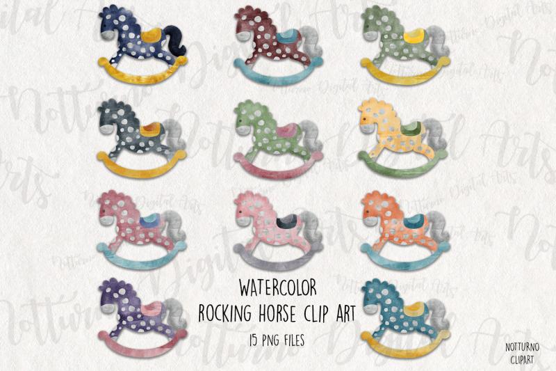 watercolor-rocking-horse-clipart-horse-printable-set-of-15-png-desig