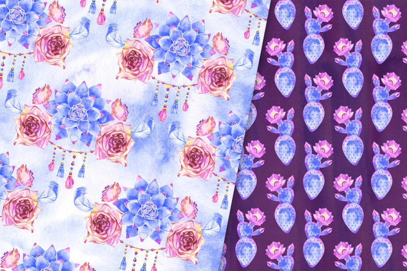 blue-succulents-boho-papers-pack