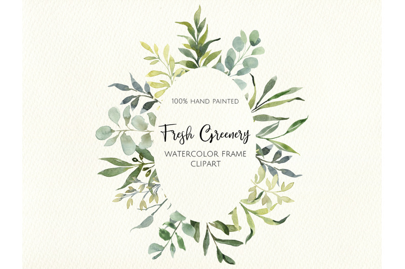 watercolor-greenery-frame-digital-clipart-instant-download-wedding
