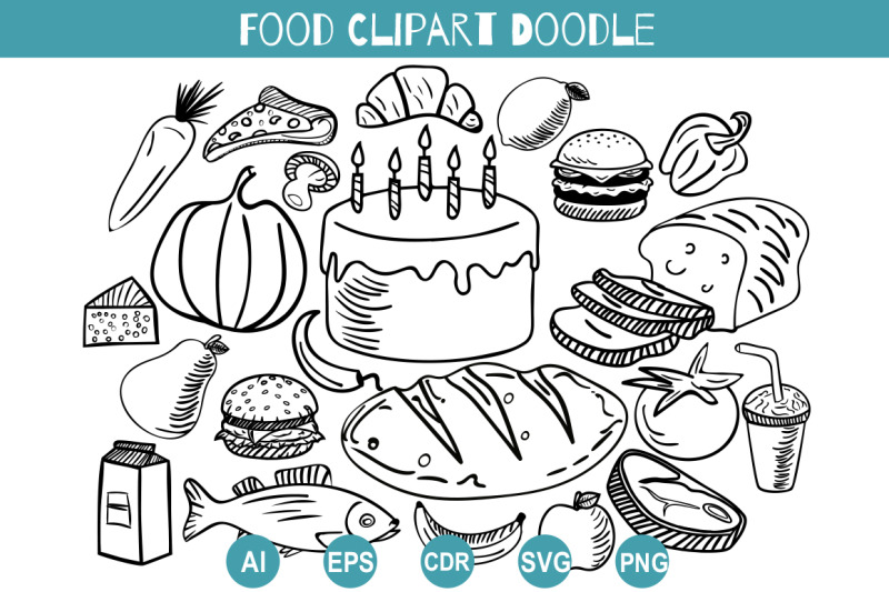 food-doodle-clipart-svg-hand-drawn-set-delicacies