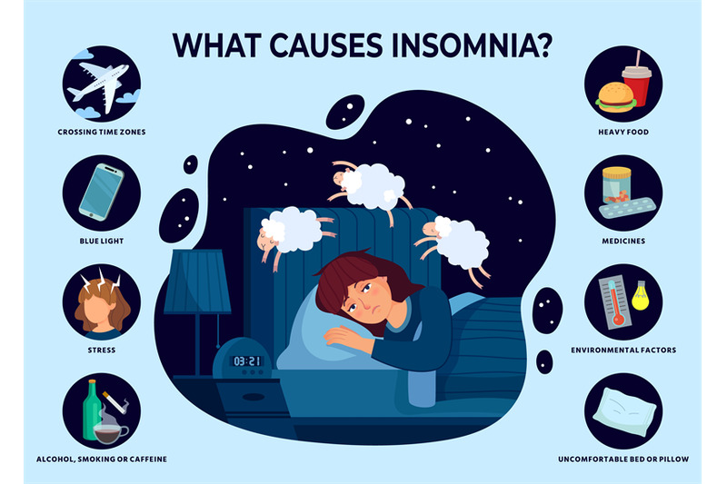 causes-of-insomnia-sleep-disorder-poster-girl-cant-sleep-and-reasons