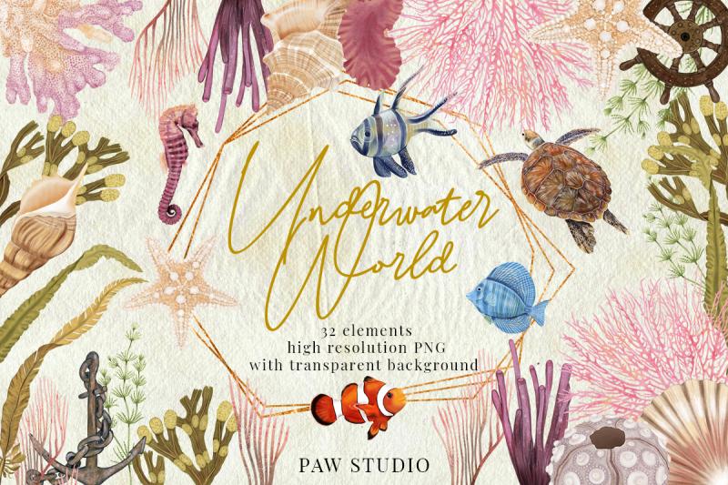 illustration-of-underwater-world-marine-bundle-sea-animals-plants