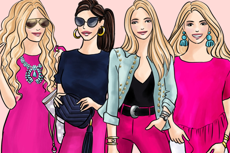 watercolor-fashion-clipart-girls-in-pink-2-light-skin