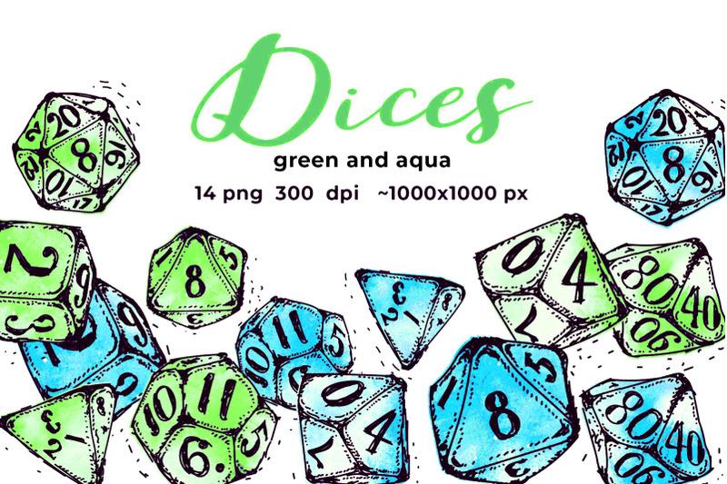 green-and-aqua-dices