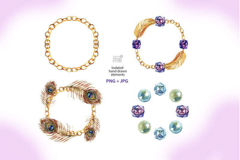 watercolor-gold-chain-wreaths