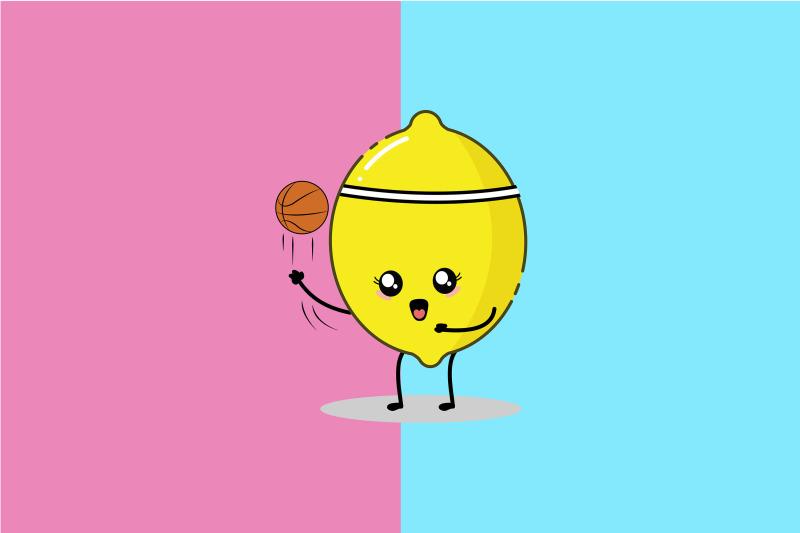 kawaii-cute-lemon-play-basketball