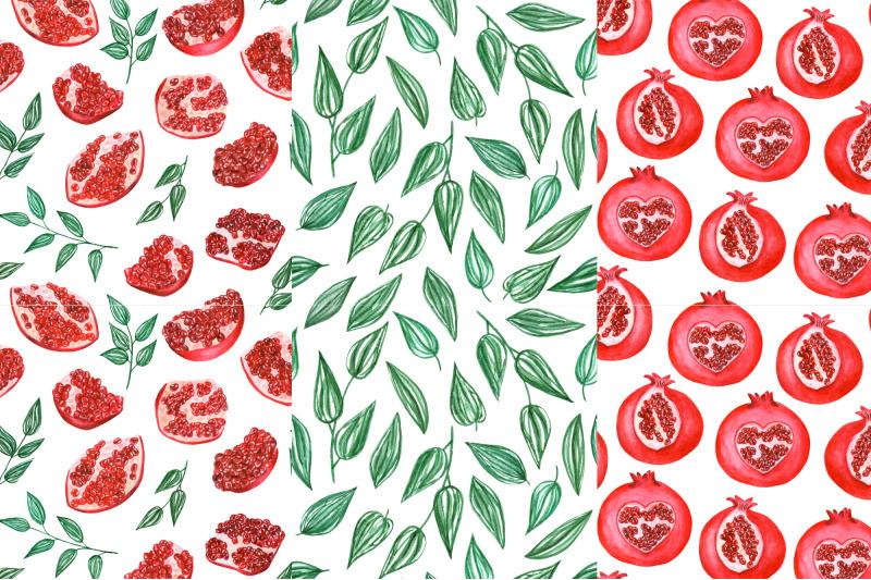watercolor-pomegranate-pattern-2